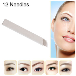 Wholesale Famous Brand CHUSE S12 Permanent Makeup Needles Eyebrow Microblading Manual Blades Pins Bevel Tattoo Needle