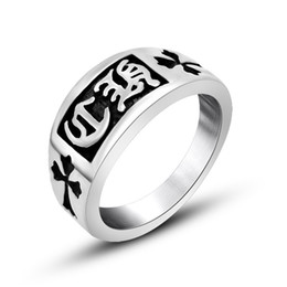 Fashion Ancient Delicate cross pattern Ring 316L Stainless Steel Personal Design Style Man Ring Custom And OEM&ODM