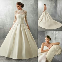 Wholesale 2 in Ball Gown Bridal Gown Long Sleeve With Sweetheart Neckline Belt Satin Ruched Ronald Joyce Abbie Wedding Dresses