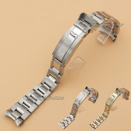 Wholesale 20mm Stainless steel Bracelet Curved end Silver or Gold Watchband watch Strap Fit For ROLEXwatch