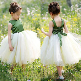 Lovely 2016 Olive Green Flower Girl Tutu Dresses Wedding Cheap Ivory Tulle Back Bow Tea Length Ball Gown Pageant Gowns Custom Made EN51114