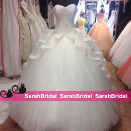 Wholesale Sexy Corsets For Size 12 - 2016 Ivory Corset and Tulle Wedding Dresses Princess Cinderella Style Bridal Ball Gowns with Ruffled Peplum for Arabic Dubai Brides Wear