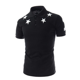 Korean Style Summer New Brand Men Polo Shirt Stars Printed Fashion Polo Shirts Men Short Sleeved Polos