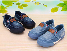 new children's shoes spring and summer denim The boy girl set kick cloth shoes A pedal children canvas shoes