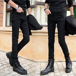 Wholesale-HOT 2016 Fashion black Design Boys Men's Sweatpants Casual Long Pants Jeans Homme Skinny Jeans Men Denim Pencil Pants
