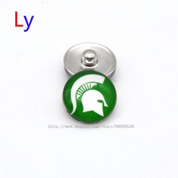 Wholesale Noosa chunks Pendant Bracelet mm Snap button buttoned Michigan State NACC University sports interchangeable jewelry for Sports fans NE0016