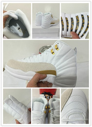 Wholesale 2016 Retro Basketball Shoes Cheap Retro XII Shoes OVO White Gold With Real Carbon Fiber Men Retro Basketball Sport Sneakers Outdoors