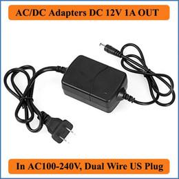 Promotion 12v ac chargeur Adaptateur secteur Prise 12V 1A US AC / DC double fil / câble AC100-240V à DC12V Alimentation chargeur pour Led Strips caméra CCTV Lumières