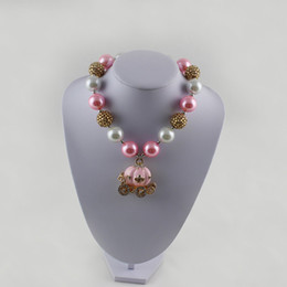 pink Pumpkin Carriage chunky bubblegum ball necklace TODDLER or GIRLS Pink Carriage Rhinestone Chunky Necklace, Princess chunky necklace,