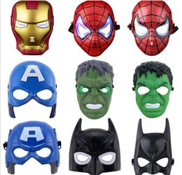 Wholesale LED Flash Mask Children Halloween Masks Glowing Lighting Mask Avengers Hulk Captain America Batman Ironman Spiderman Party Mask Boy Gift