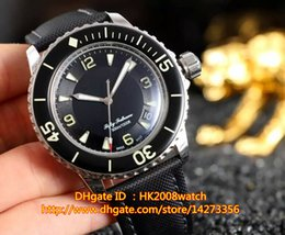 Wholesale Hot New Luxury FIFTY FATHOMS MM Ref Automatic Gents Watch SS Black Dial Leather Strap Mens Best Sports Watch