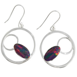 Opal earrings sterling silver 925 Jewelry for women Valentine's gift pure handcrafted 6 color available for E7581