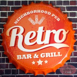 Wholesale Retro round signs Bar Grill Beer Cap Metal Art Poster Bar Pub Tavern Wall Decor cm RM