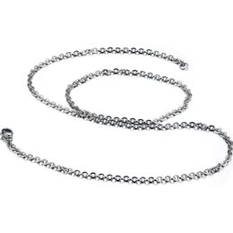 1.5mm Wide 18 inches Long Stainless Steel Necklace Cable O Chain Link Silver Tone Chain Necklace for Unisex
