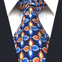 P14 Extra Long Size Floral Checked Multicolor Navy Mens Neckties Ties 100% Silk Jacquard Woven Handmade