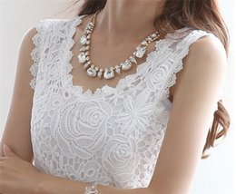 2016 Plus Size XXL Summer Women Blouse Lace Vintage Sleeveless White Black Crochet Casual Shirts Tops