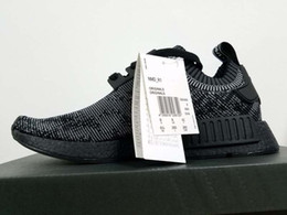 Wholesale 2016 Mens NMD R1 Primeknit Pitch Black Sneakers Fashion Running Shoes
