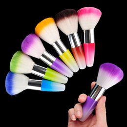 Wholesale Nail Art Dust Powder Brushes Flocking Remover Cleaner Concealer Foundation Makeup Cosmetic Brushes Manicure Pedicure Tool MIX COLOR
