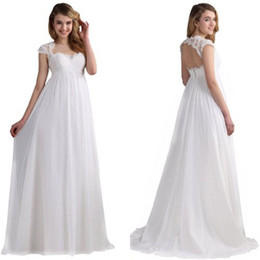Vintage Style A Line Sweetheart White Ivory Chiffon Beach Wedding Dresses With Keyhole Back Lace Garden Bridal Wedding Gowns