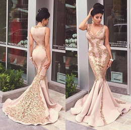 2016 light pink lace prom dress sexy v neck appliques gold luxury evening gown long mermaid zuhair murad evening dress