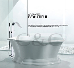 Wholesale Large Water Flow Easy Installation With Embedded Box Bath Waterfall Floor Standing Bathtub Faucet Mixer Set