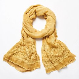 Wholesale New scarf embroidery cotton fiber art s female is prevented bask in cape cotton and linen scarf manufacturer scarves in Nepal