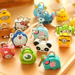 5 pieces Lot Cute Cartoon Doll Animal Mini Silicone Metal Padlock Anti-thief Security Lock with Key For Lage Drawer Material Escolar