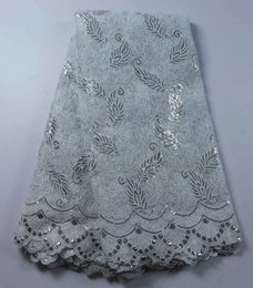 Wholesale 2016 Gorgeous White African French Lace Fabric High Quality African Tulle Lace Fabric with beautiful sequins For Wedding QA491