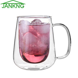 JANKNG 1 Pcs Handmade Healthy Coffee Glass Cups Clear Beer Mugs Double Wall Glass Coffee Cups Heat Resistant Glass Cups Gift Good Quality