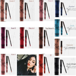 Wholesale Kylie Lip Kit by kylie jenner Lipstick Kylie set with Eyekiner lip gloss liquid lipstick matte colors Brown Sugar Dirty Peach Love Bite