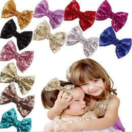 Wholesale NEW Baby glitter lace bowtie barrettes new Europe and cute girls children sequins hairpin large bow hair jewelry colors select CC612