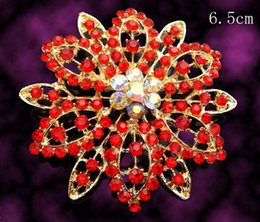Wholesale hot sell Gold plated flowers fashion Zinc alloy crystal rhinestone Brooch jewelry Free shipping 12pcs lot mixed color BH762
