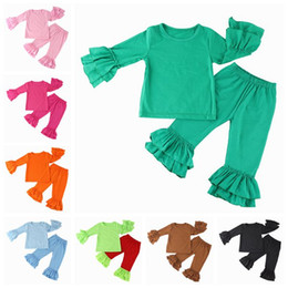 baby clothing sets kids long sleeve tops t shirts + ruffle pants girls boutique outfits children spring autumn cotton clothes wholesale suit