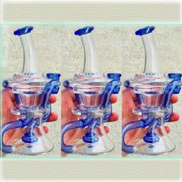 Wholesale 2017 Blue Glass Bongs Water Pipes dab Recycler Oil Rigs Glass Bong With Perc percolator Best Circulation Safe Shipping hookahs