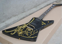 Wholesale Explorer special shaped goose shape electric guitar Classical black with gold carvings golden accessories
