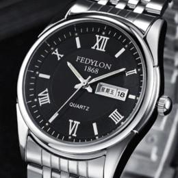 2017 los mejores relojes de moda de calidad ¡Mejor calidad! 3 colores cuarzo Hombre de acero del reloj de manera impermeable resistente a los arañazos calendario Hombres Doble pulsera casuales F470 los mejores relojes de moda de calidad oferta
