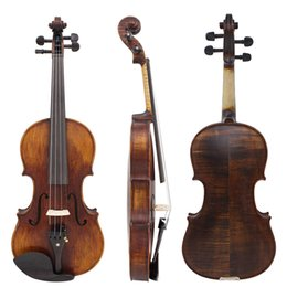 Wholesale 4 Full Size Handcrafted Solid Wood Acoustic Violin Fiddle with Carrying Case Tuner Shoulder Rest String Rosin Sordine I2060