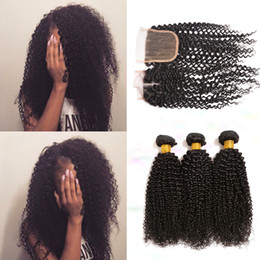 7A Brazilian Indian Malaysian Peruvian Human Hair Weave Bundles Kinky Curly Human Hair 3 Bundles with Lace Closure Dyeable Double Weft