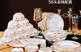 China réglé 56 en Ligne-Livraison gratuite!! AAAA réel 56 os China Kitchen Vaisselle Sets Avec pot Pan Swan Lake