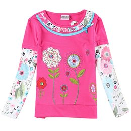 Wholesale Clothing For School - Long Sleeve Pull Collar Flower Fuchsia Girls Clothes Spring Autumn For 2-6 years old 95% Cotton 5% Spandex Warm school walking party