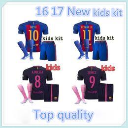 Wholesale 2016 Top quality Barcelona kids jerseys kit sock home away kids SUAREZ MESSI NEYMAR JR jerseys kit