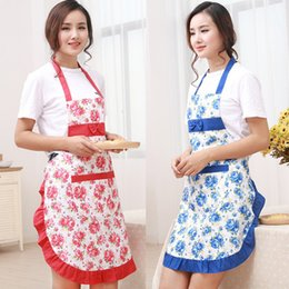 Wholesale New Printed Apron with pockets waterproof floral bib kitchen soil release aprons bowknot home textiles women bibs breech cloth