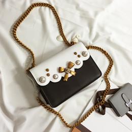 high quality~w337 5 colors genuine leather pearl bow chain mini shoulder bag handbag green red white black blue pink 22*16cm