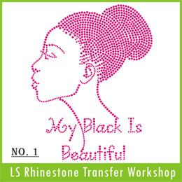 Wholesale Dark Pink Fuschia My Black is Beautiful Design Rhinestone Custom Iron On Heat Transfer