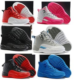 Wholesale new Boys Girls Retro Basketball Shoes Kids Children s Gym Red s Wolf Grey French Blue Sports Shoes Toddlers Birthday Gift
