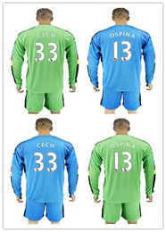 Wholesale 16 Long Sleeve Kits Arsenal Goalkeeper Soccer Jerseys Gunners Jersey CECH Ospina OZIL ALEXIS GIROUD Full Football Keeper Sets