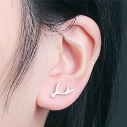 Wholesale Christmas presents new pure sterling silver matte rhodium plated antlers earring jewelry anti allergic Chinese love ear stud