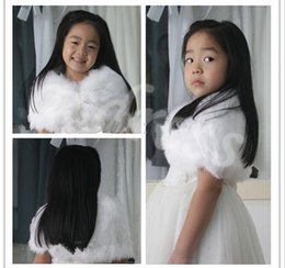 Custom Made Child Faux Fur Wrap Pearl shrug White Flower girl Shawl 3-9 years old Wraps Winter wedding shrugs Bolero Coat faux fur cover up