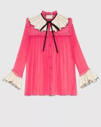 Wholesale Korean Ladies Chiffon Ruffle Blouse - rose red bow Shirts Chiffon long Sleeve Blouses Fashion Ladies Girls Korean Slim Blouse Top Tees Jumper