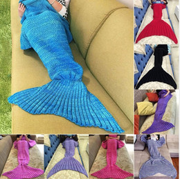 Wholesale Mermaid Tail Blanket Super Soft Hand Crocheted cartoon Sofa Blanket air condition blanket siesta blanket X90cm